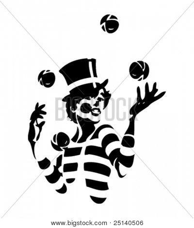 Jonglieren Clown-Illustration - dritte in einer Reihe