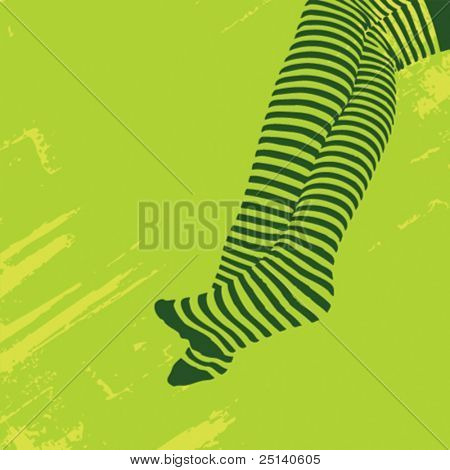 Legs wearing stripped stockings, illustration on a green grunge background