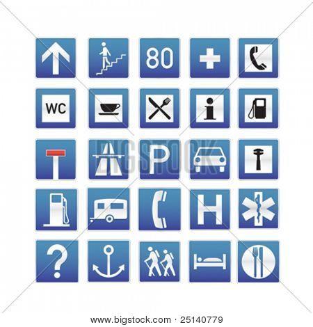 Azul coleção de sinais de tráfego - verificar carteira para mais
