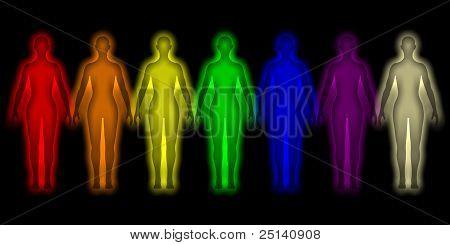 einfachen Hintergrund mit farbigen menschliche Energie Körper aura
