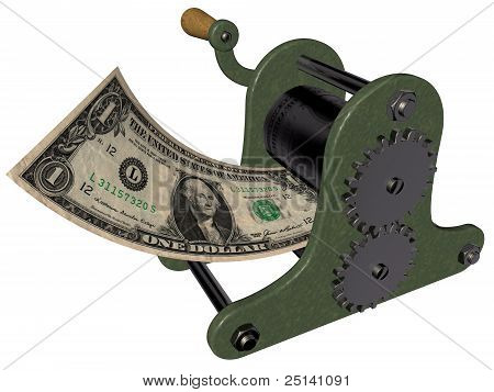 Cartoon of making money on the hand printing press