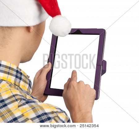 Man Holds A Tablet Computer With Blank White Screen