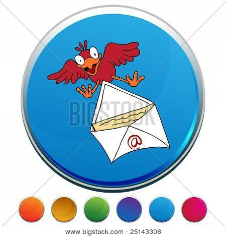 An image of a Bird Delivering Email button set.