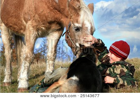 Boy, horse and dogs