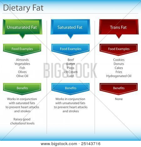 An image of a dietary fat chart.