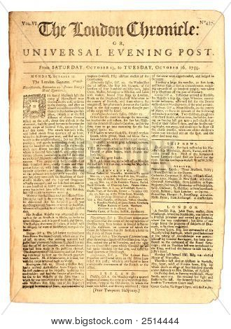 Vintage Newspaper Of 1759.