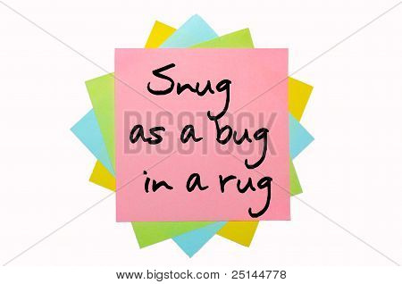 """Proverb """" Snug As A Bug In A Rug """" Written On Bunch Of Sticky Notes"""