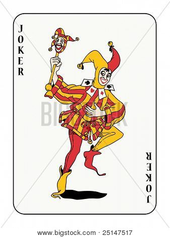joker playing card with red and golden costume (also available in vector format)