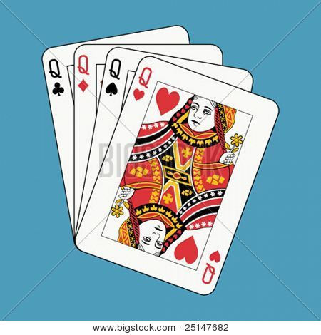 Queens poker on blue (also available in raster format)
