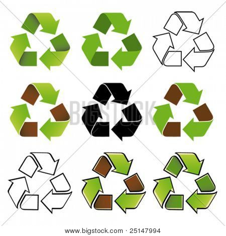 Recycle symbol nine different arrangements
