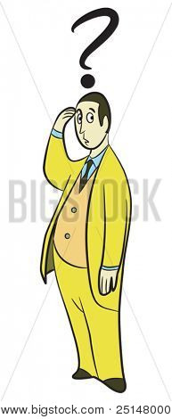Doubting man cartoon in yellow clothing