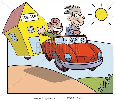 student and teacher on a car towing a school in a country summer day