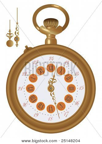 Old pocket watch detailed illustration