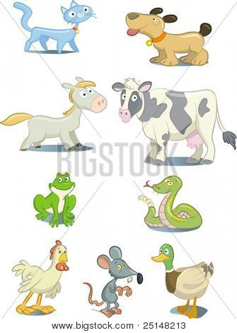 Set of cartoon style animals and pets