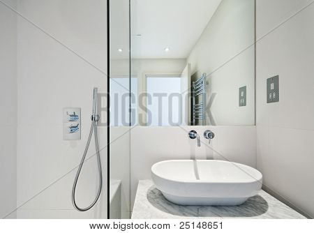 en suite bathroom detail with shower corner and oval hand wash