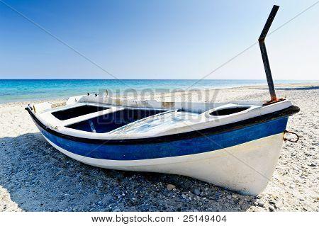Colourful dinghy, beach resort