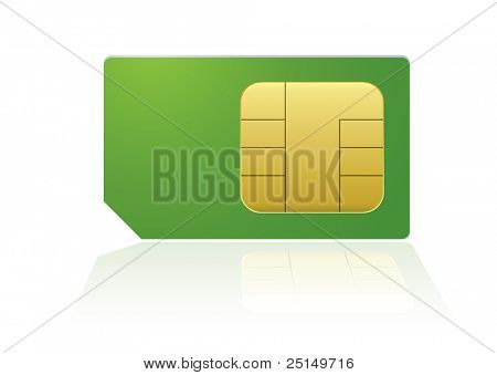 Modern mobile or cell phone sim with reflection