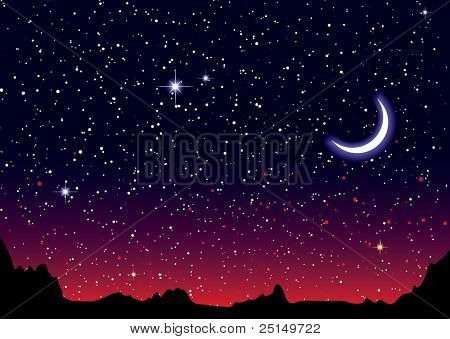 Red sky at night with starry landscape and mountains