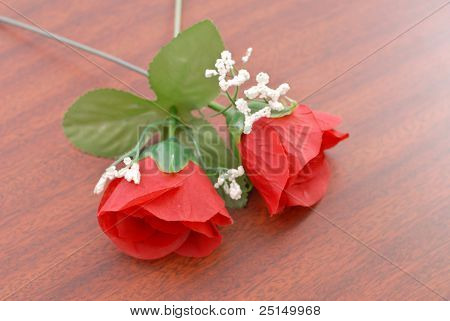 Two Roses On Wood Surface