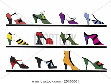 Illustration Of Retro Shoes In A Window Shop