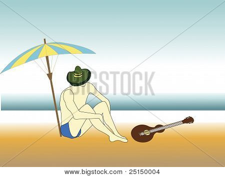 Illustration Of A Man Relaxing On The Beach
