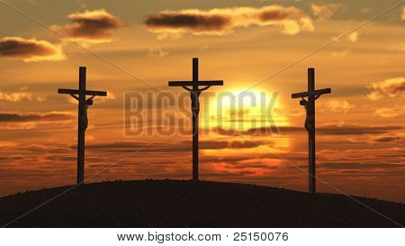 crucifixion at sunset
