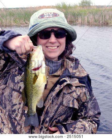 Lady Fisherman Bass Fishing