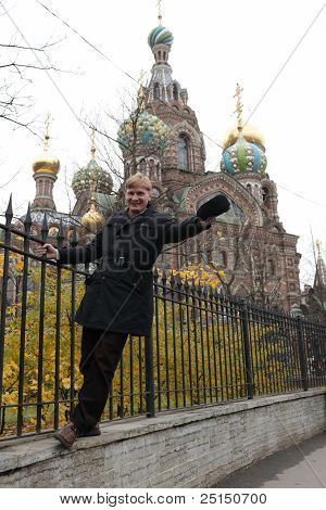 Man Posing On Church Background