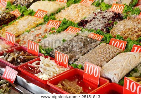 seafood in market for sale