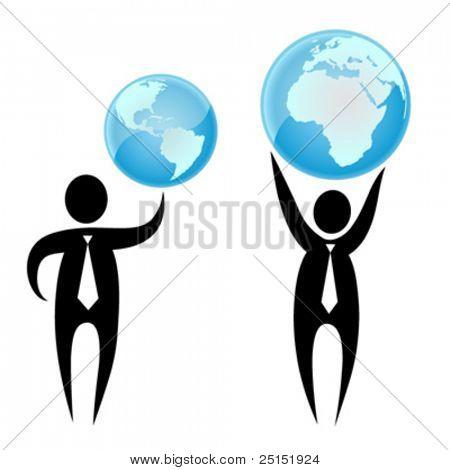 Empresario sosteniendo un globo arriba