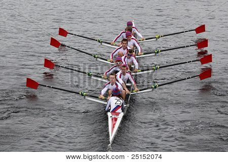 BOSTON - OCTOBER 23: St. Catharines Rowing Club youth men's Eights races in the Head of Charles Rega