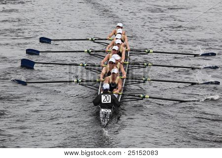 BOSTON - OCTOBER 23: St. John's Jesuit High School youth men's Eights races in the Head of Charles R