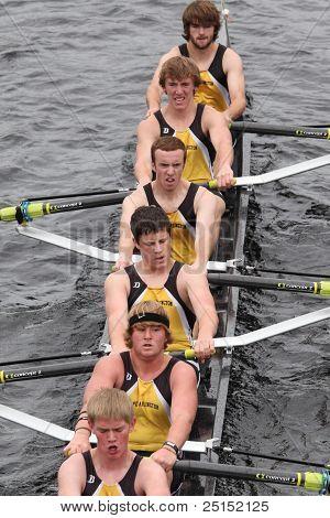 BOSTON - OCTOBER 23: Upper Arlington Crew youth men's Eights races in the Head of Charles Regatta. M