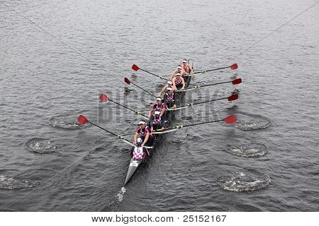 Boston - October 23: Abington School Boat Club Youth Men's Eights Races In The Head Of Charles Regat