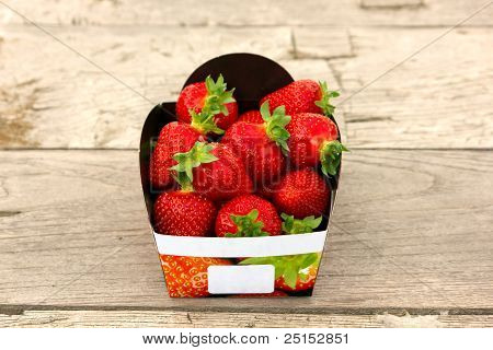 Strawberry Basket On Table