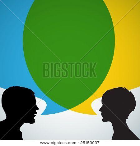 Resumen de siluetas de altavoces con big bubble azul y amarillo (chat, diálogo, conversación o discusión)
