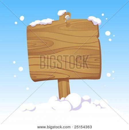 Tabla de madera contra un paisaje de invierno. Ilustración de la Navidad.