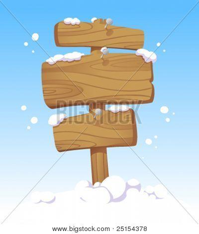 Holzbretter gegen eine Winterlandschaft. Weihnachten-Abbildung.
