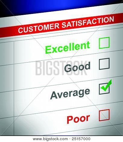 customer service survey with average selected. illustration design