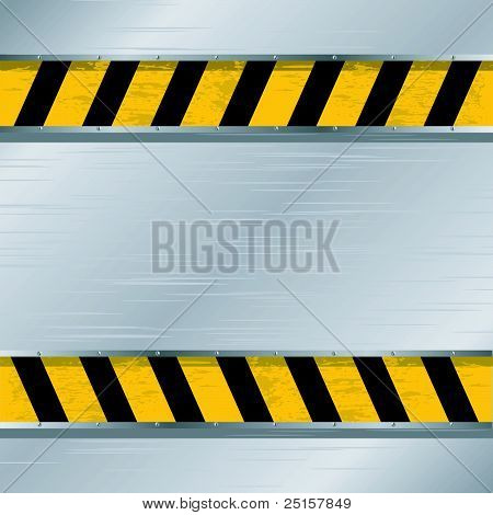 Vector Illustration Of A Metal Plate With A Forbidding Strip