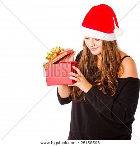 Young Xmas Woman Isolated