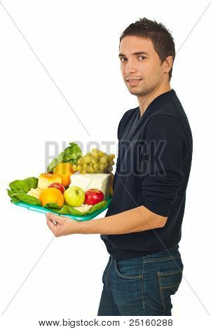 Young Male Holding Healthy Food
