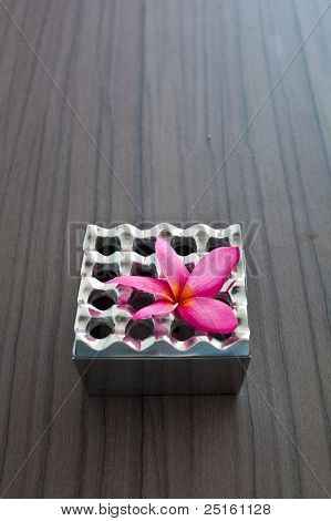 Aluminium Ashtray And Pink Flower