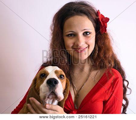 Gipsy Girl With Beagle.