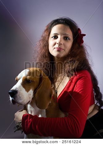 Gipsy Girl With Beagle.