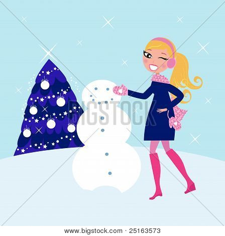 Woman Building Winter Christmas Snowman ..