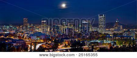 Moon Over Portland Oregon City Skyline At Blue Hour
