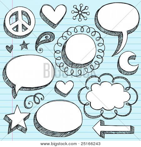 Sketchy Doodle 3-D Shaped Comic Book Style Speech Bubbles and Peace Sign- Hand Drawn Notebook Doodles on Blue Lined Paper Background- Vector Illustration