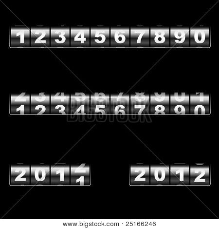 Out-dated universal mechanical counter vector template with two examples of usage â?? changing 2011 to 2012 year and 2012 year. Easy to edit and combine any numbers.