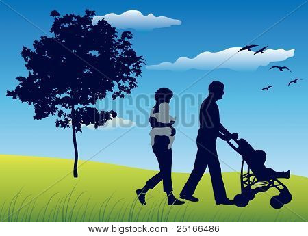 Family With Two Children And Carriage Walking On Field Near Tree, Blue Sky, Vector